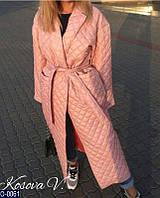 Удлиненное весеннее стеганое пальто в разных цветах