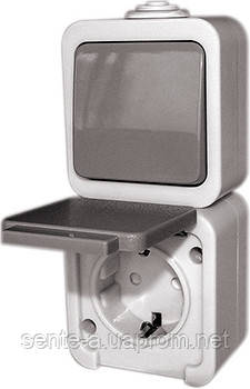 Розетка одинарная с переключателем  e.dew.1237.gr.blister с з/к, для внешнего монтажа, IP 44,  в блистерной упаковке