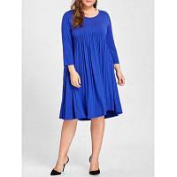 Платье Большого Размера С Высокой Талией И Рюшами До Колена 3XL