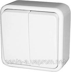 Выключатель двухклавишный e.touch.1112.w.blister для внешнего монтажа, белый, в блистерной упаковке