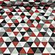 Хлопковая ткань польская треугольники крупные красные, серые, графитовые №132, фото 3