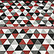 Хлопковая ткань польская треугольники крупные красные, серые, графитовые №132, фото 5