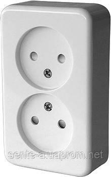 Розетка двойная e.touch.1222.w.blister  без з/к, для внешнего монтажа, белая, в блистерной упаковке