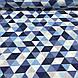 Хлопковая ткань польская треугольники крупные серые, голубые, синие №131, фото 4