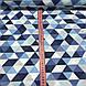 Хлопковая ткань польская треугольники крупные серые, голубые, синие №131, фото 5