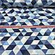 Хлопковая ткань польская треугольники крупные серые, голубые, синие №131, фото 6
