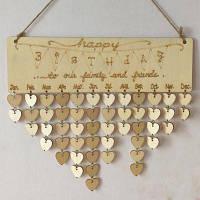Семья и друзья календарь день рождения DIY деревянная доска памятки сердце