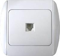Розетка e.install.stand.814P1+f.cer телефонная одинарная с рамкой