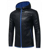 Двухцветная Куртка Из Искусственной Кожи С Капюшоном И Тиснением Ромбами XL