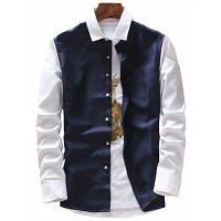 Двухцветная Рубашка С Длинным Рукавом И Планкой 4XL
