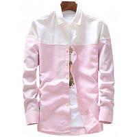 Повседневная Двухцветная Рубашка С Длинными Рукавами XL