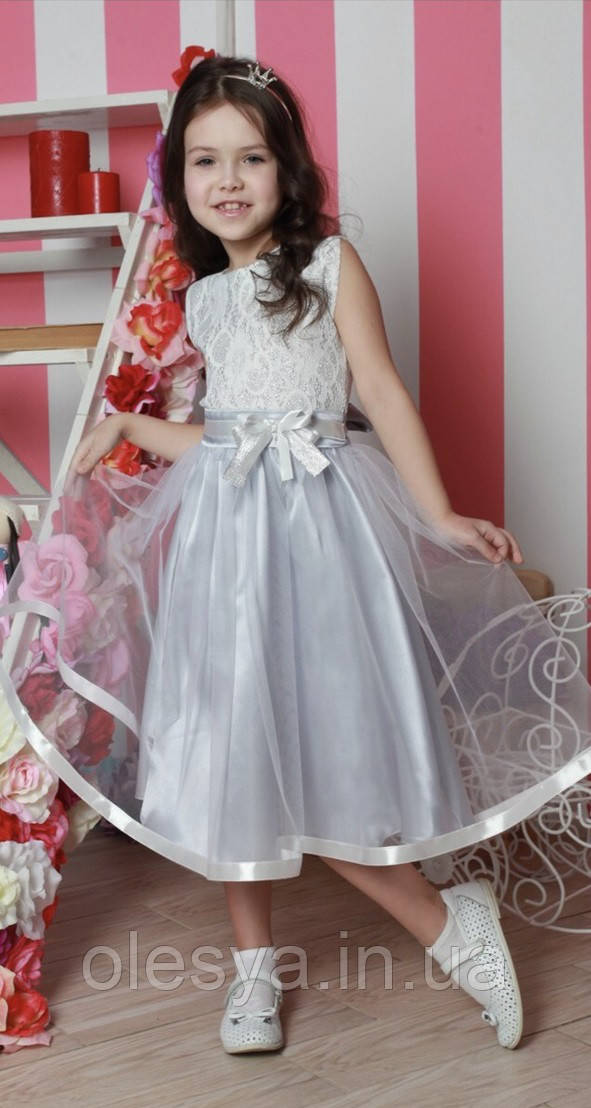 b740f906e97 Детское праздничное платье на девочку Серебристого цветаРазмеры 116 ...