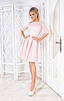 Легкое платье Karla с красивым гипюром на подкладке и изыскаными рукавами три четверти (144)143710