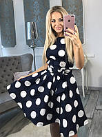 Пышное платье Amanda в модный большой горох без рукавов (144)107880