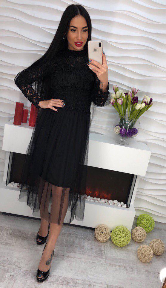 33b6092f12a Платье шифоновое с кружевом