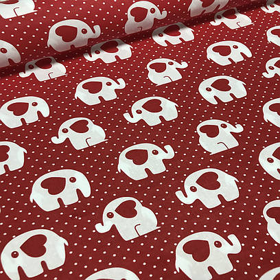 Хлопковая ткань польская белые слоники и красные сердца на красном №130