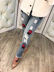 Крутые джинсы женские с вышивкой