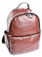 Кофейная женская сумка-рюкзак из кожи 8318