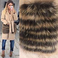 Женское кашемировое пальто с карманами - натуральный-енот, в расцветках