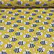 Хлопковая ткань польская пчелки черно-белые на желтом №126, фото 5