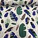 Бавовняна тканина польська пір'я великі зелені, сині на білому №124, фото 2