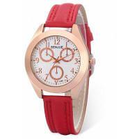 Новый Стиль Кожаный Ремешок Женщин Кварцевые Часы Красный