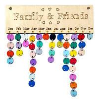 DIY красочные деревянные семьи и друзей рождения Calendar доска