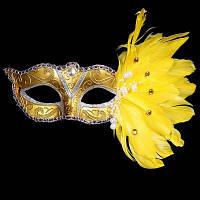 Венеция Маскарад маска с перо Золотой