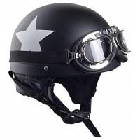 Мотоциклетный шлем с защитными очками старинный черный половина-шлем мотокросса с углеродной белой звездой 55см-60см для Harley / электро скутер