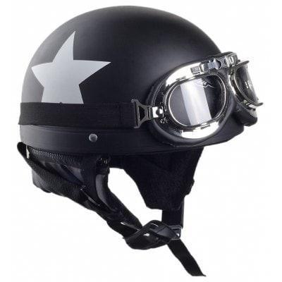 Мотоциклетный шлем с защитными очками старинный черный половина-шлем мотокросса с углеродной белой звездой 55см-60см для Harley / электро скутер - ➊ТопШоп ➠ Товары из Китая с бесплатной доставкой в Украину! в Киеве