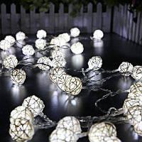2.5м светодиодная гирлянда на 20 светодиодов в виде шариков из ротанга Холодный белый свет