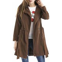 Женское Шерстяное Пальто 2017 С Отложным Воротником И Поясом S