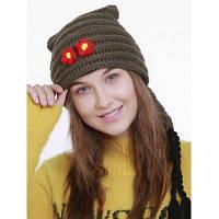 Женская Вязаная Шляпа Рождества С Длинным Хвостом Зеленый армейский