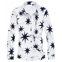 Рубашка Большого Размера С Длинными Рукавами И Узором Восьмиконечные Звезды 5XL