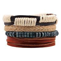 4 шт Конопля из дерева Бисер Diy ручной тканый кожаный браслет разноцветный