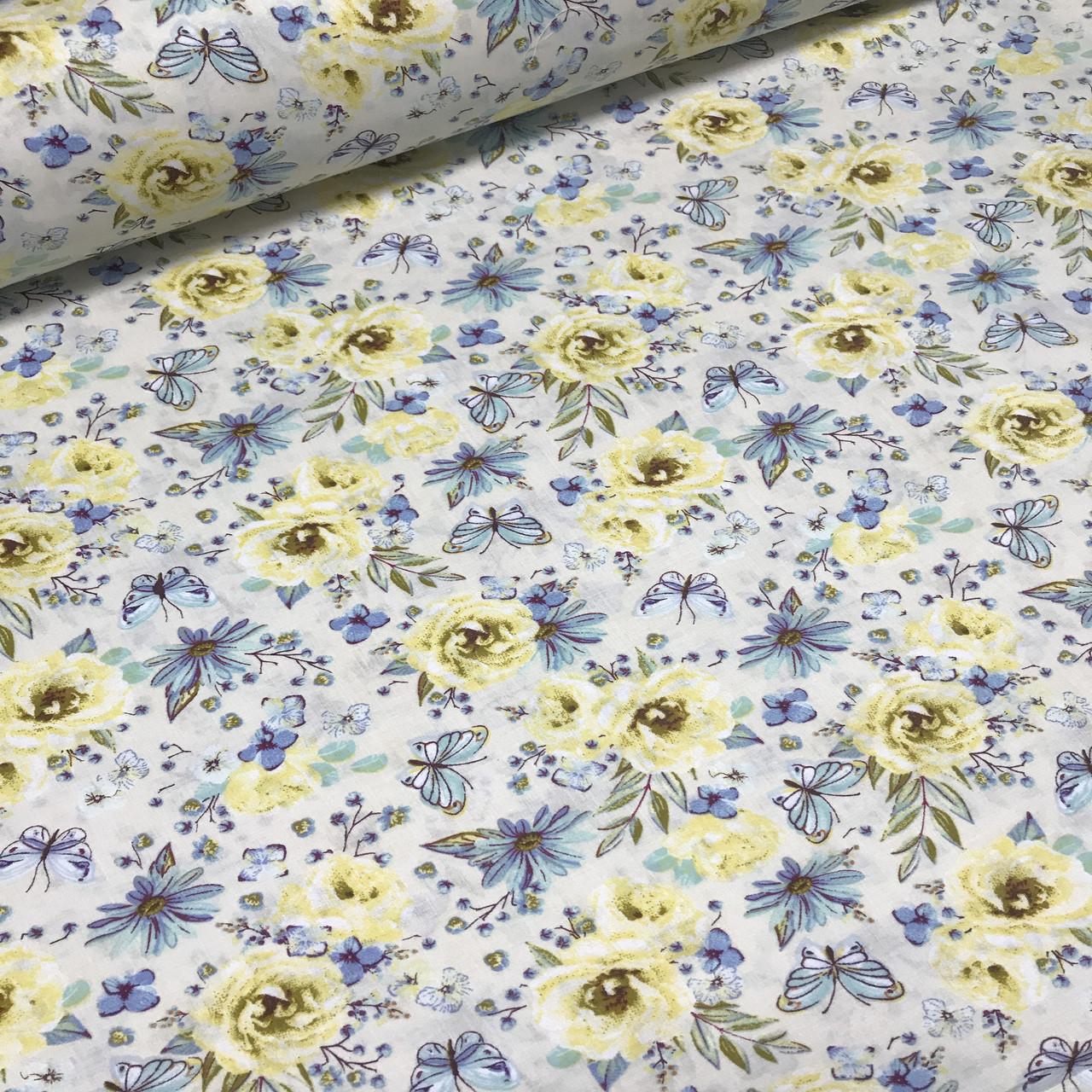 Хлопковая ткань польская цветы и бабочки голубые и желтые №118
