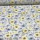 Хлопковая ткань польская цветы и бабочки голубые и желтые №118, фото 2