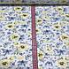 Хлопковая ткань польская цветы и бабочки голубые и желтые №118, фото 3