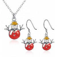 Женские милые рождественские снеговика медный набор ювелирных изделий Красный