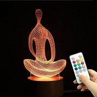 3D-Йога медитация Цвет формы изменить пульт дистанционного управления свет Прозрачный
