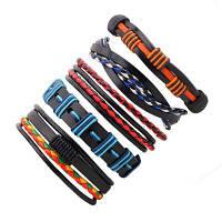 5 PCS Colorful Snake ручной тканый кожаный браслет разноцветный