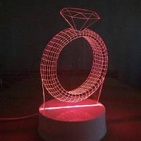 Кольцо с бриллиантом ночник Сенсорный 3D Светильник таблицы стола СИД RGB