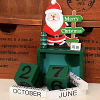 Креативный рождественский деревянный календарь декоративный адвентный календарь Зелёный
