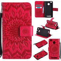 Солнце цветок печати дизайн Искусственная кожа флип бумажник ремешок защитный чехол для xiaomi Редми 3С/3 премьер Красный