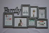 Рамка коллаж 1707 Family 7 фото серая