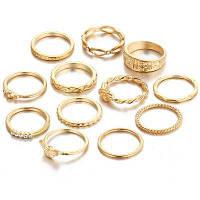 12 шт Женское кольцо Комплект Ретро Стиль Rhinestone Декоративные Модные аксессуары 12 шт.