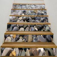 6шт узор брусчатки 3D наклейки лестницы 6шт: 39 * 7 дюймов (без рамки)