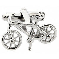 Мужская индивидуальная креативная форма велосипеда Чистые медные мужские запонки Серебряный