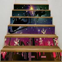 Старлайт Рождество Перевозки Печатных Декоративные Лестницы Наклейки 6шт: 39 * 7 дюймов (без рамки)
