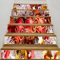 Новогодние Шары Напечатаны Декоративные Наклейки Лестницы 6шт: 39 * 7 дюймов (без рамки)